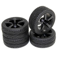"ABSIMA - WHEEL SET ON ROAD ""5 SPOKE / PROFILE"" BLACK 1:10 (4 PCS) 2510006"