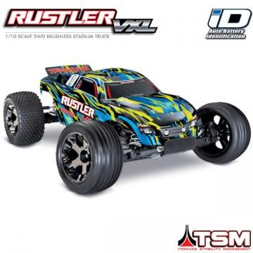 TRAXXAS - RUSTLER 4x2 1/10 VXL BRUSHLESS TSM - W/O BAT/CH YELLOW 37076-4-YLW
