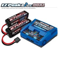 TRAXXAS - BATTERY/CHARGER COMPLETER PACK (2971 EZ-PEAK LIVE ID CHARGER + 2890X 6700MAH 14.8V 4-CELL 25C LIPO BATTERY (2) 2993G