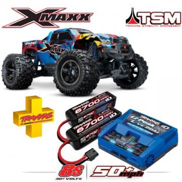 TRAXXAS - COMBO X-MAXX ROCK N'ROLL 8S 4WD BRUSHLESS RTR MONSTER TRUCK W/2.4GHZ TQI RADIO & TSM COMBO-77086-4-RNR