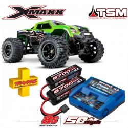 TRAXXAS - COMBO X-MAXX GREEN X 8S 4WD BRUSHLESS RTR MONSTER TRUCK W/2.4GHZ TQI RADIO & TSM COMBO-77086-4-GRNX