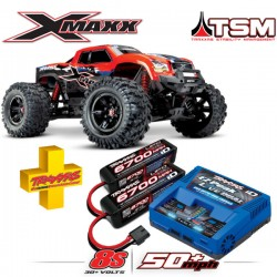 TRAXXAS - COMBO X-MAXX RED X 8S 4WD BRUSHLESS RTR MONSTER TRUCK W/2.4GHZ TQI RADIO & TSM COMBO-77086-4-REDX