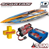 TRAXXAS - COMBO SPARTAN OFFSHORE TQI ID TSM AVEC ACCUS/CHARGEUR-ORANGE COMBO-57076-4-ORNG