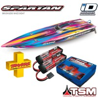 TRAXXAS - COMBO SPARTAN OFFSHORE TQI ID TSM AVEC ACCUS/CHARGEUR-ROSE COMBO-57076-4-PINK