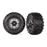 TRAXXAS - ROUES MONTEES COLLEES CHROMEES NOIRES – HOSS (2) 9072