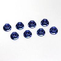 KYOSHO - STEEL FLANGED NUTS M4X4.5 - BLUE (8) 1-N4045F-B