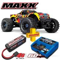 TRAXXAS - COMBO MAXX 4S 4x4 SOLAR FLARE 1/10 BRUSHLESS TQI TSM - AVEC AQ/CHG RTR COMBO-89076-4-SLRF