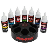 TRAXXAS - SHOCK OIL SET (INCLUDES 20,30,40,50,60,70, & 80 WT PREMIUM SHOCK OILS WITH SPINNING CAROUSEL RACK) 5038X