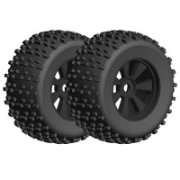 TEAM CORALLY - OFFROAD 1/8 MONSTER TRUCK TIRES GRIPPER GLUED ON BLACK RIMS 1 PAIR C-00180-378