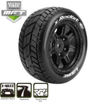 LOUISE RC - MFT X-ROCKET X-MAXX SERIE TIRE SET MOUNTED SPORT BLACK WHEEL L-T3295B