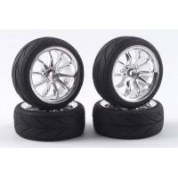Fastrax pneus 1/10th touring montés/collée jantes chromées ref FAST0080C