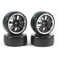 Fastrax 4 pneus 1/10th DRIFT montés/collée jantes noires ref FAST0093B