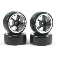 Fastrax 4 pneus 1/10th DRIFT montés/collée jantes noires ref FAST0094B