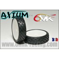 6MIK PNEUS 1/10 AXIUM BLUE COLLES SUR JANTE HEX 12MM