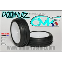 6MIK PNEUS 1/10 DONUTS YELLOW COLLES SUR JANTE HEX 12MM